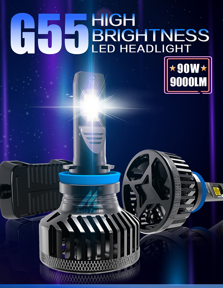 Factory supply 55w led headlight G55 h11/h8/h9  6500k 9000lm super bright