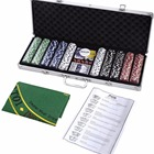 Premium poker chip set Poker chip case Poker chip set texas hold'em cards silver aluminum case