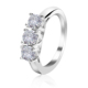 Shinning White Diamond CZ 925 Silver Engagement Wedding 3 Stone Ring with Factory Price