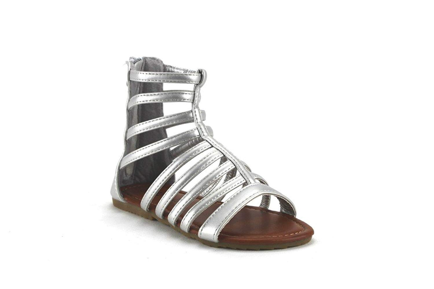 f179d8f8f81a Get Quotations · Ositos QQ Girls Kids Pipper-65 Tall Ankle High Caged  Gladiator Zipped Sandals Shoes