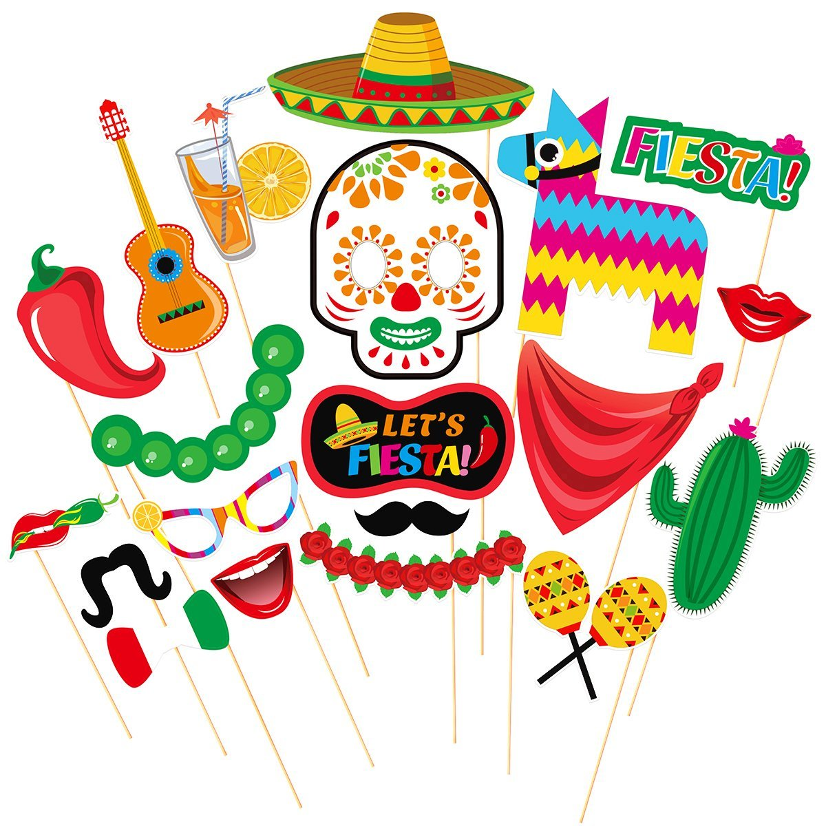 LUOEM Cinco de Mayo Fiesta Photo Booth Props Mexican Party Supplies Mexican Posing Props Festive Party Favors, Pack of 20