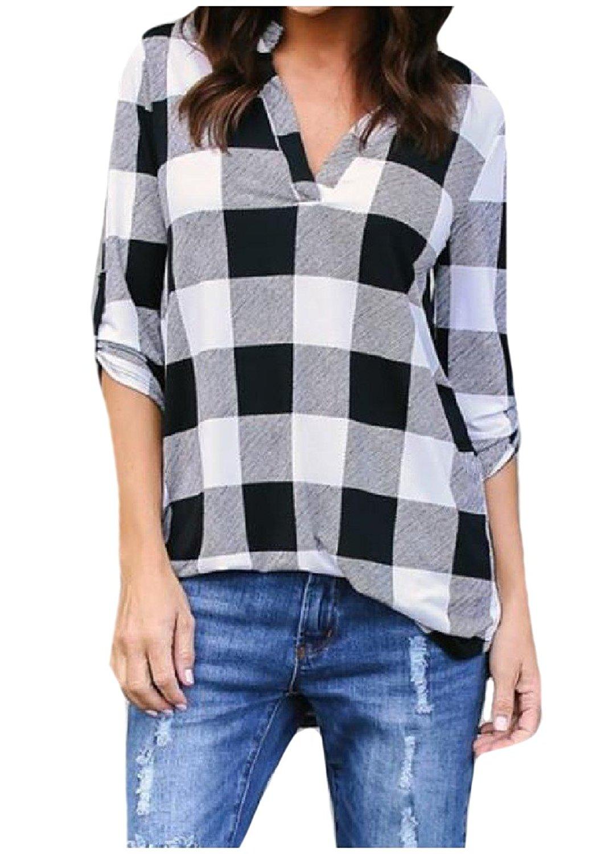 Zimaes-Women Elegant V-Neck Plus Size Print Plaid Polo Shirts Tunic Top