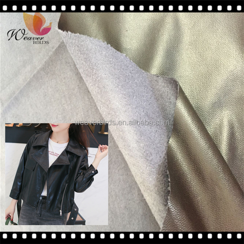100% polyester micro fiber Suede with PU leather coating for jacket