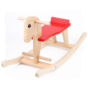 Hot selling baby ride on toy assembly painted wooden hobby rocking horse