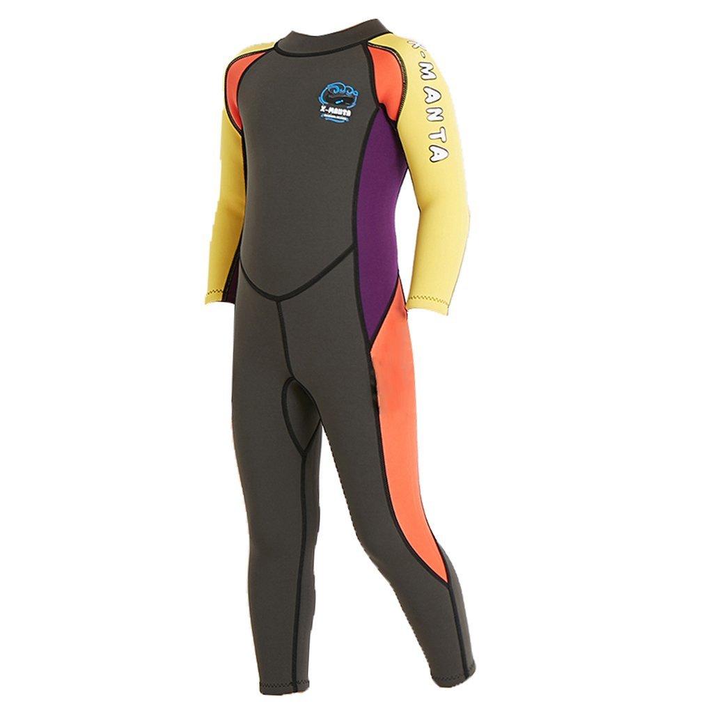 Baosity Kid's Wetsuit Neoprene 2.5mm Back Zipper Thermal Swimsuit UV Protection Long Sleeves Full Length Diving Suits