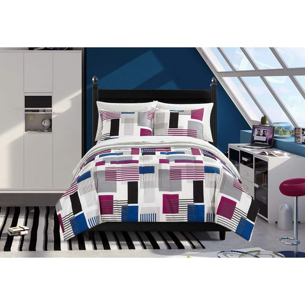 7 Piece Grey Blue Red Blocked Comforter Queen Set, Geometric Bedding Blocks Pattern Geo Gray Brushstrokes Black Burgundy Rectangles Stylish Teen Artistic Art Themed, Reversible Polyester