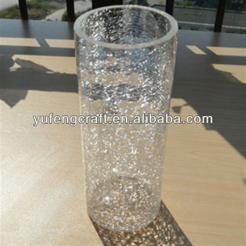 Clear Crackle Glass Vases Wholesale Cylinder High 25cm Home Deco