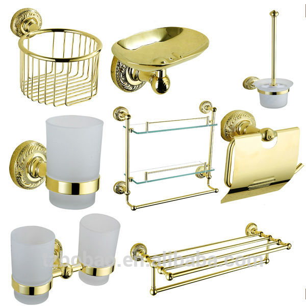 Decorative Rose Gold Bathroom Accessories Crystal sets  Faucet Fitting Red Bath Sets Ceramic