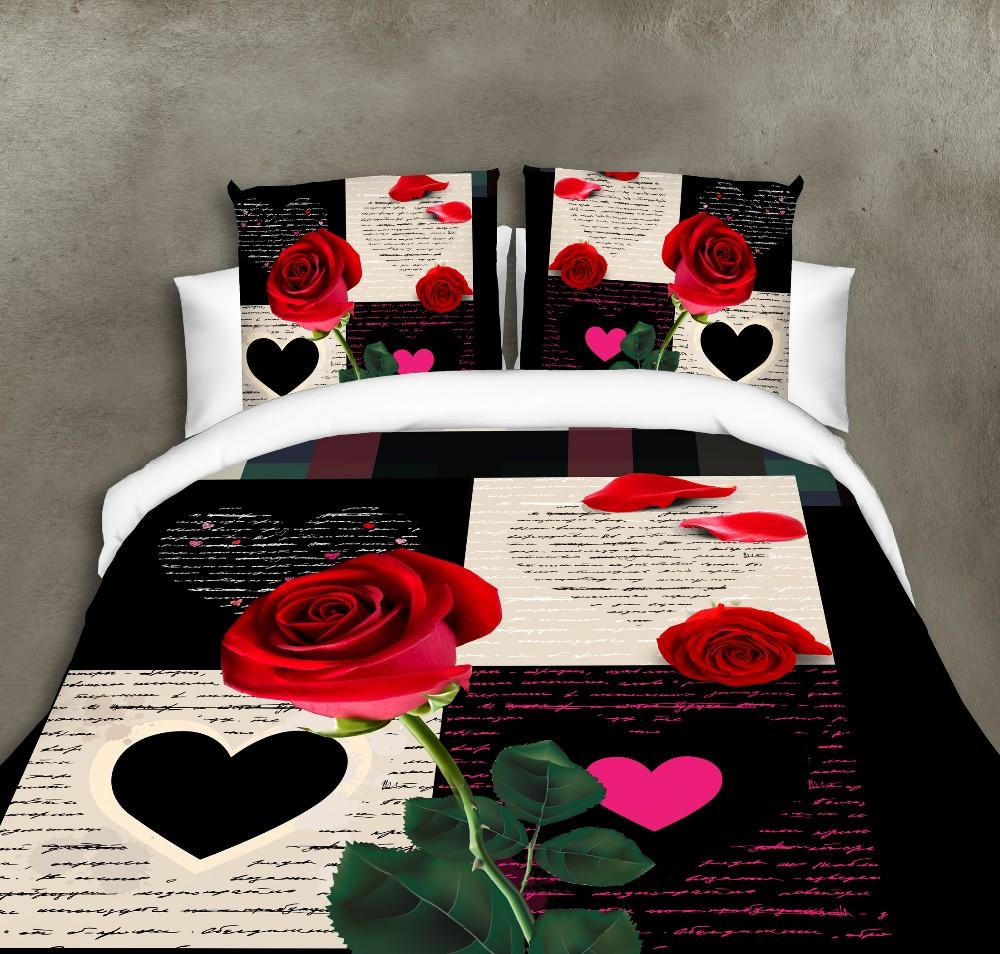 Blanc Et Rouge Rose 2 Reactif Imprime 3d Ensemble De Lit 3d Ensemble