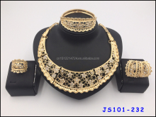 Gold-plated flower with stones High Quality Necklace earrings sets Pandant Necklace sets For Party Wedding Gift