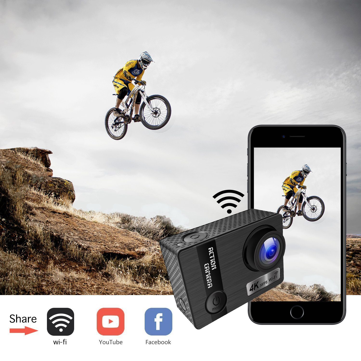 Best quality 4K wifi mini action camera with 30m waterproof