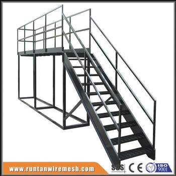 2016 High Quality Industrial Metal Stairs 10u0027 High 24u0026quot; Wide Bar  Grating Treads W