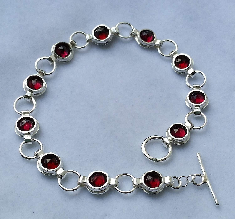 Garnet Silver Bracelet Sterling Silver 925 Link Bracelet Gemstones Silver Bracelet Handmade Garnet Silver Bracelet Women Garnet Bracelet