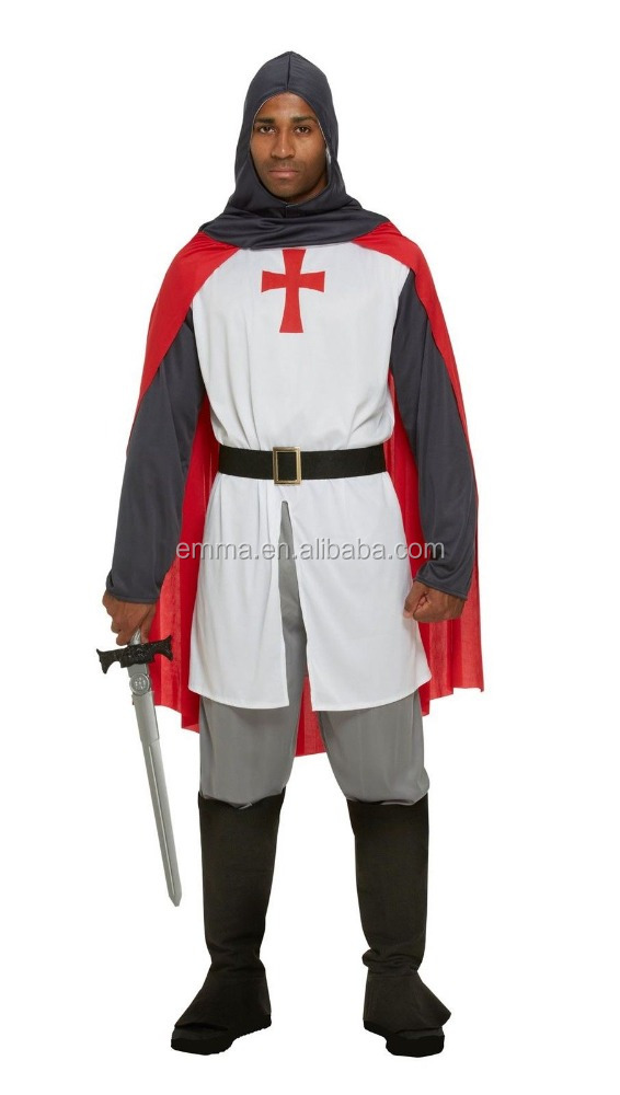 Adult Mens Medieval Knight Costume St George Fancy Dress England Crusader Outfit
