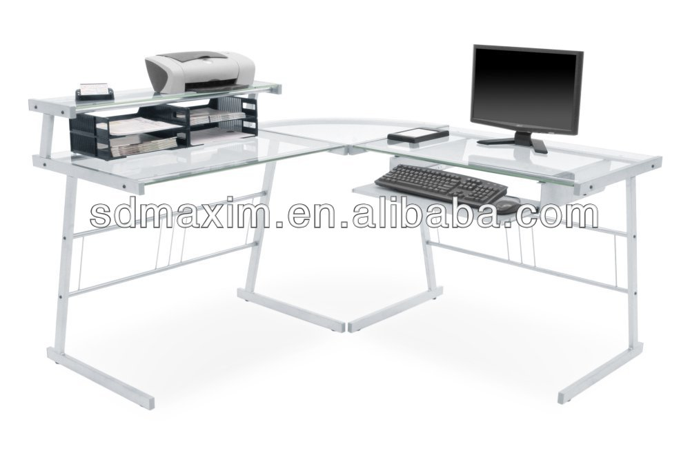 Long Glass Computer Desk Interesting Picture With Long