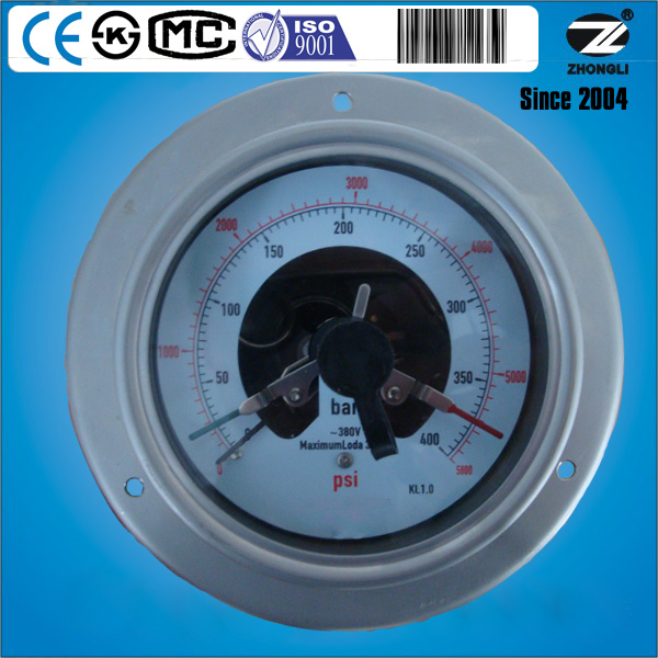 100mm all stainless steel electric contact pressure gauge manometer with front flange