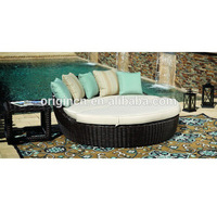 New design luxury waterproof synthetic rattan woven outdoor garden furniture round bed prices