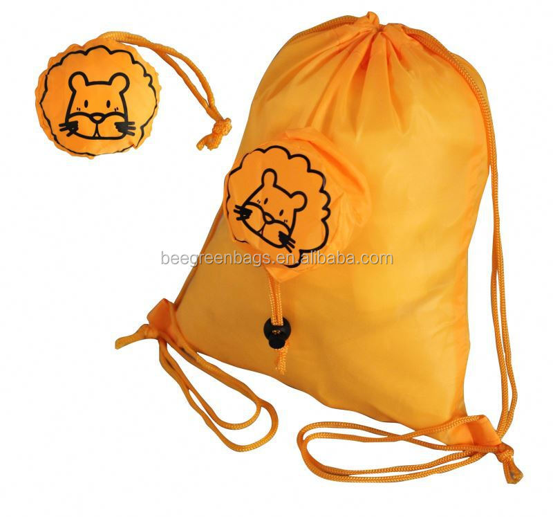 Budget 190T Polyester Kids Drawstring Bag with Animal Design Pouch