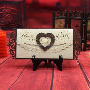2016 New arrival love heart shaped Acrylic stone wooden wedding invitation card