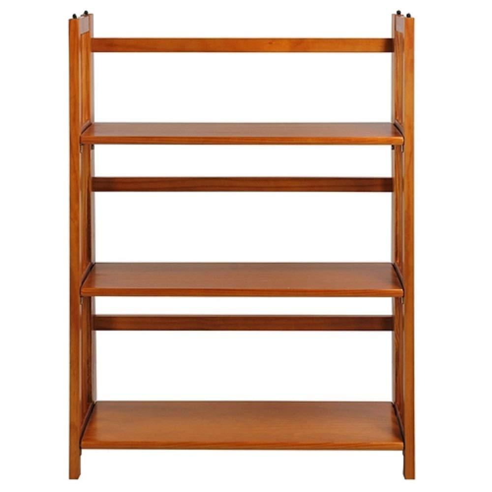 MyEasyShopping 3-Shelf Folding Storage Shelves Bookcase in Honey Oak Finish Adjustable Display New Furniture Wide