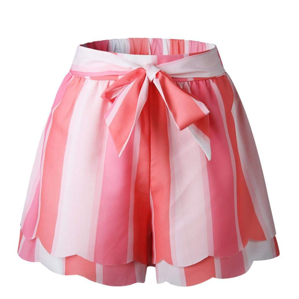 Casual Shorts,Lowprofile Women Ladies Casual Printing Striped Petal Double Layer Pants Short Trousers