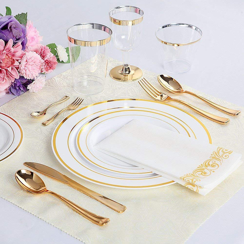 Factory cheap plastic golden tableware disposable cutlery knife fork spoon set western golden cutlery wholesale tableware