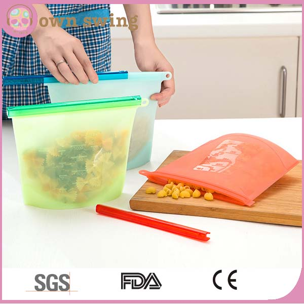 Reusable Silicone Vacuum Food Sealer Bags Wraps Fridge Food Storage Containers Refrigerator Bag Kitchen Colored Ziplock Bags