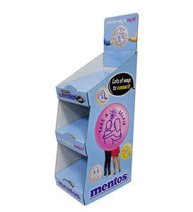 Mentos Sugar Box Corrugated Counter Cardboard Display for Retail Promotion