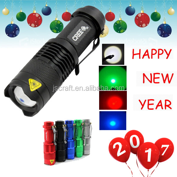 Warranty 1 year SK68 3 mode cree q5 led rechargeable 14500 battery 1 AA zoom mini led flashlight torch with red green blue beam
