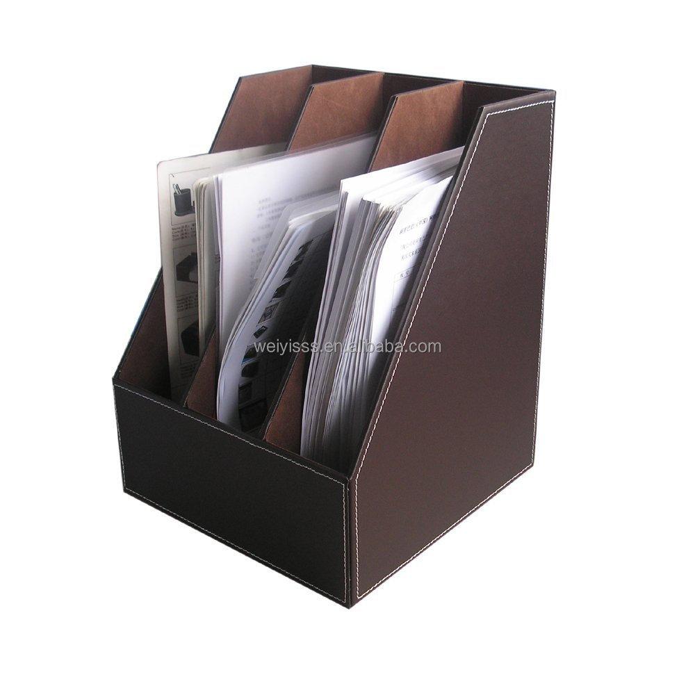 Fashion Desk File Document Holder Tray Box Leather Organizer Rack