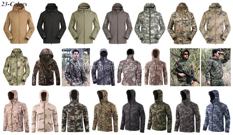 ESDY アウトドアスポーツソフトシェル通気性軍コートパーカー防水キャンプ狩猟軍事戦術ジャケット