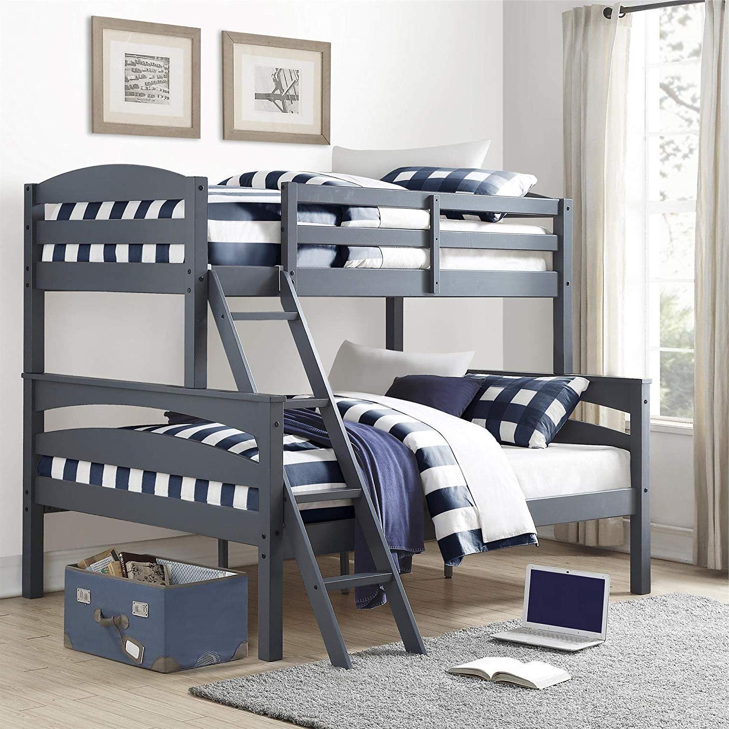 Bunk Beds for Kids Toddler Twin Over Full Wood Gray Your Child Will Sleep in Style and Great Solution for Your Space Saving Needs by HomeTeks