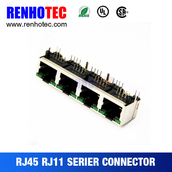 4ports rj45 connector shielded 1x4 port rj45 socket multi socket rj45