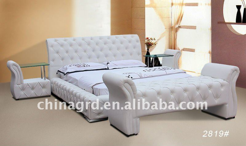 Modern White King Size Leather Beds