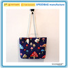 Wholesale / Custom various color women ladies canvas mushroom pattern beach bag strong cotton handle shoulder bag in stock