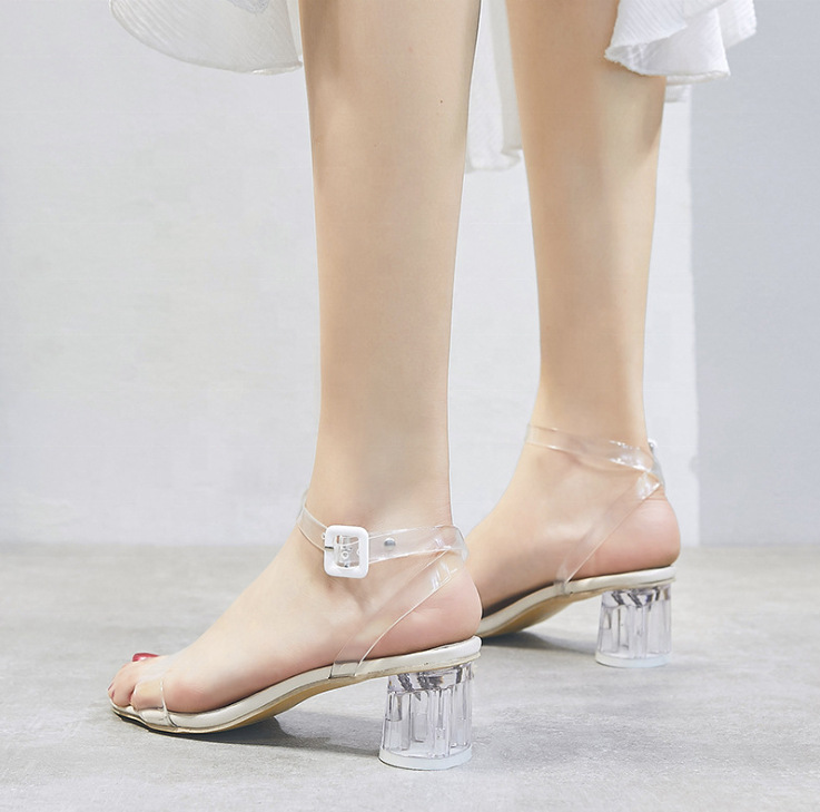 2019 Women's Heeled <strong>Sandals</strong> Clear Strappy Chunky <strong>Sandal</strong> High Heel Peep Toe Pumps Shoes Transparent <strong>Sandals</strong>