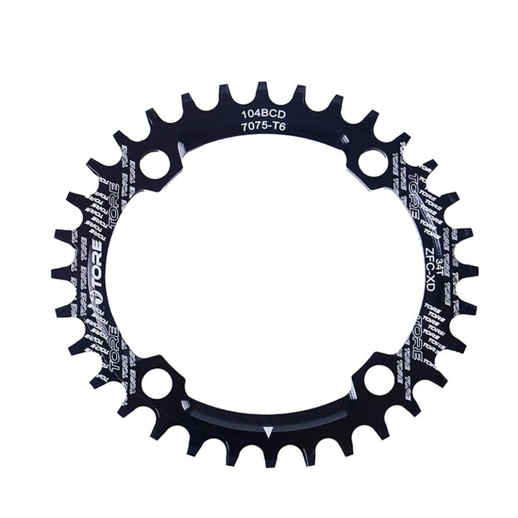 Binmer(TM) 104BCD 34T Ultralight Alloy Bike Bicycle Chainring Oval Round Chainwheel (Black)