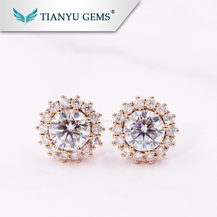a9ea0974ceac8 Luxury 14k 18k Rose gold moissanite earrings 2.3ctw Round brilliant cut DEF  White moissanite stud earrings, View moissanite earrings, TIAN YU Product  ...