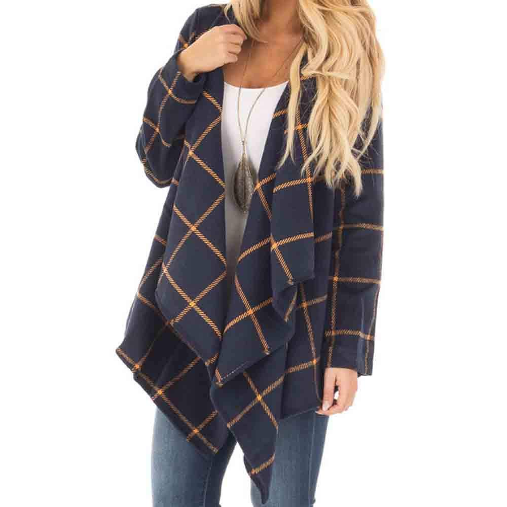 Clearance Sale ! Kshion Women's Coat Outwear Jacket Fashion All-Sleeve Plaid Shirt With Wide Lapel Blouse Tops Cardigan