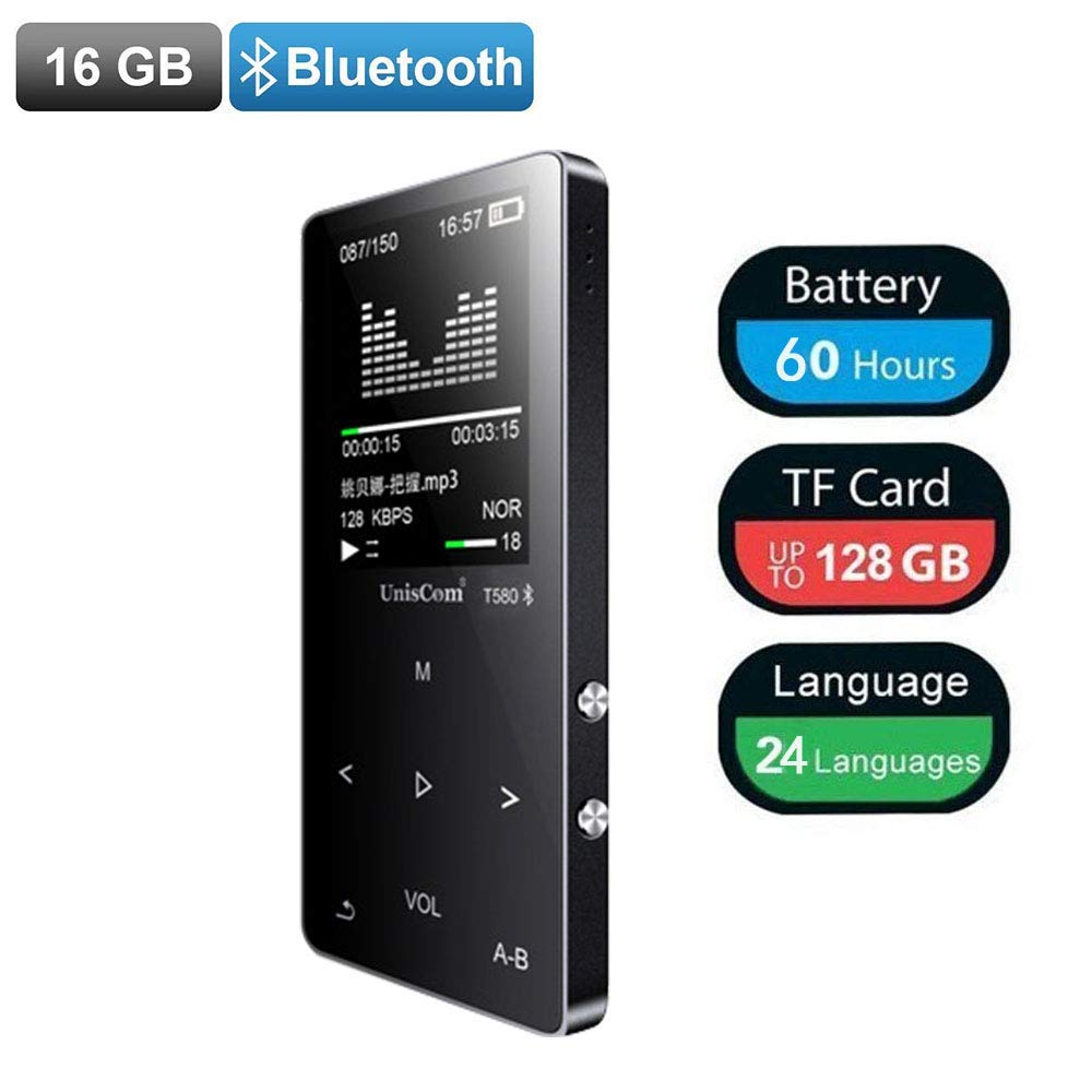 MP3 Player, UJIANG16GB HIFI Lossless Digital Music Player with Bluetooth 4.0,Supports FM Radio,Voice Recorder,Video Play,Text Reading,Portable hang rope for Sports and Exercise,Expandable Up to 128 GB