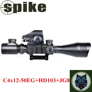 Spike Optics C4-12x50EG Hunting Rifle Scope with Red Dot Reflex Sight Scope and Red Laser Sight Used for Air Rifles