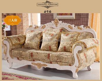 Turkish Sofa Furniture , Wholesale Furniture China , Cheap Elegant Gold  Leaf Fabric Sofa Set