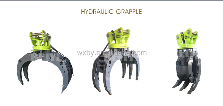 CE approved BeiYi series BYKL 10 hydraulic grapple for excavator grapple, log grapple for excavator