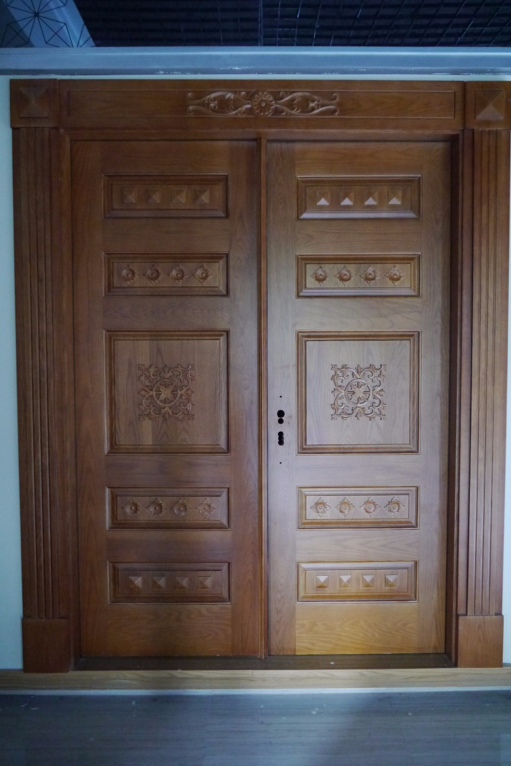 Prehung exterior double door 96 wood mahogany 2 panel for Modern wooden main door design