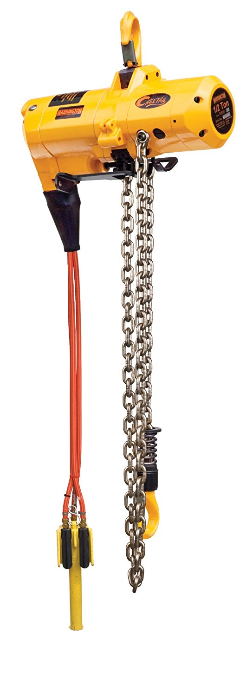 "Harrington Cheetah TCS Pendant Model Air-Powered Hoist, Hook Mount, 1/4 Ton Capacity, 10' Lift, 121 fpm Max Lift Speed, 16-1/3"" Headroom, 1"" Hook Opening, 1/2"" NPT, 90 psi"