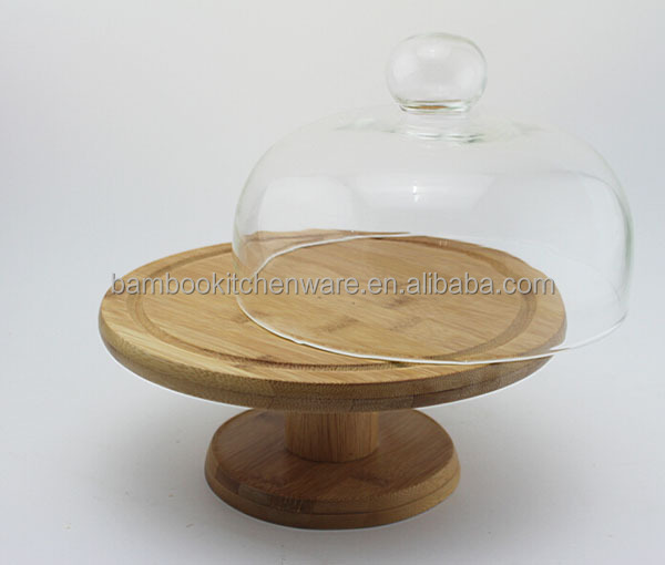 Bamboo Wood Cake Stand With Glass Dome Buy Bamboo Cake Standbamboo Cake Standbamboo Cake Stand Product On Alibabacom