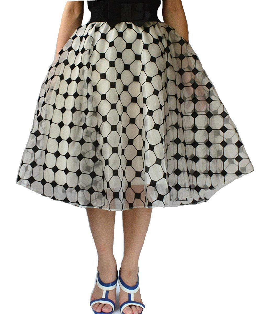 cb391b452e Jojobaby Lady's Organza Princess Skirt Bowknot Pleated Midi/ Knee Length  Skirts