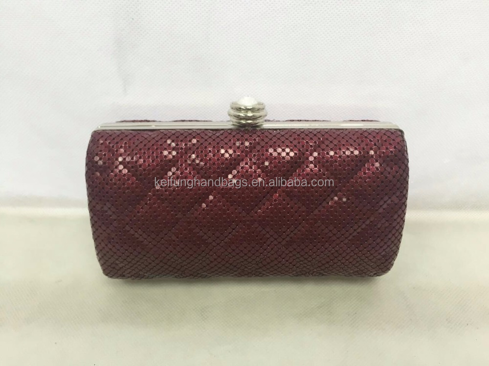 Quilted minaudiere metal mesh clutch bag evening