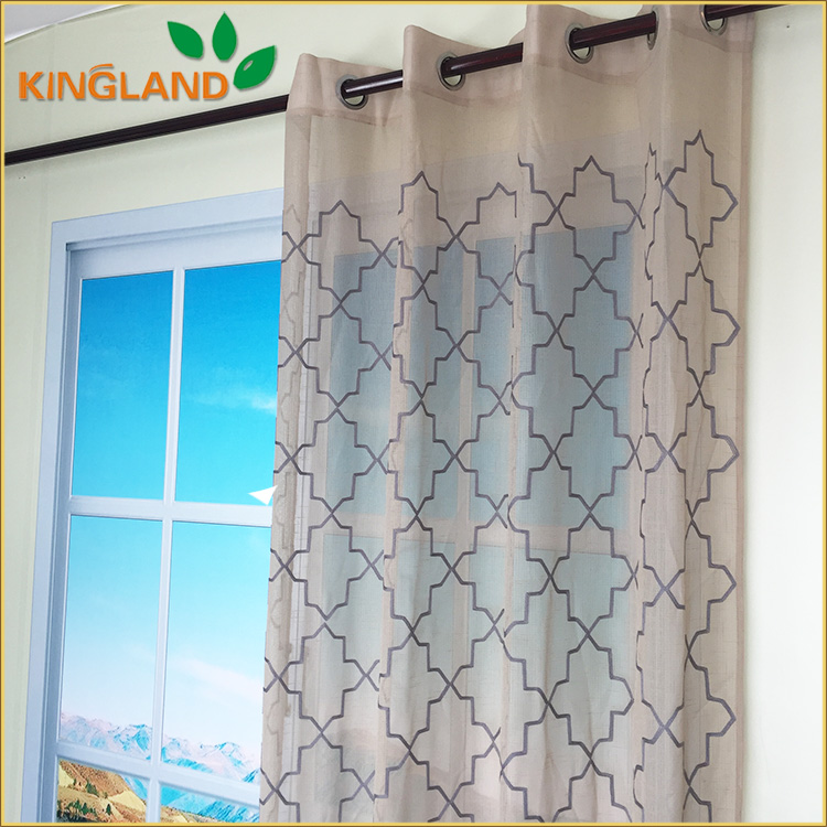 Certified product linen embroidery windows curtain fabric
