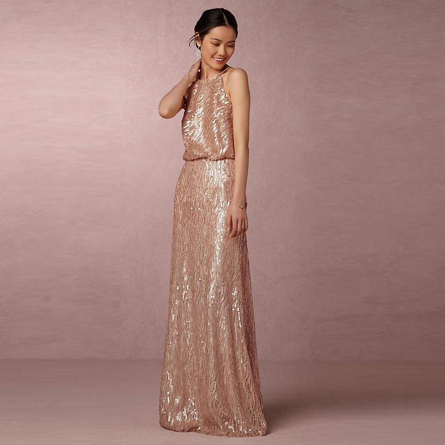 Elegant sleeveless sequin Bridesmaid party Long evening dress
